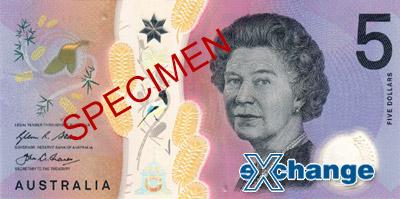 Líc bankovky nominální hodnoty 5 AUD