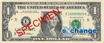 Líc bankovky nominální hodnoty 1 USD